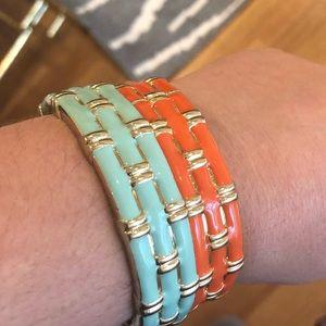Enamel bamboo & gold tone hinge bracelets (set 2)